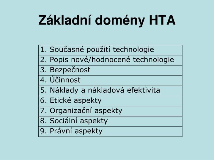 Základní domény HTA