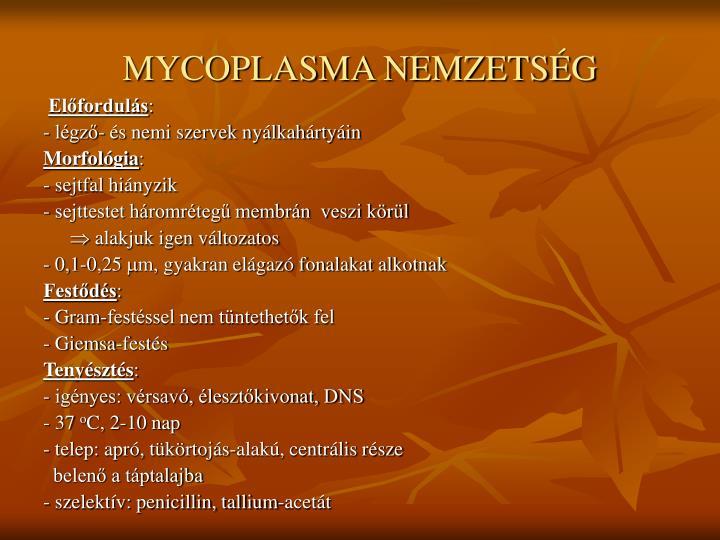 MYCOPLASMA NEMZETSÉG