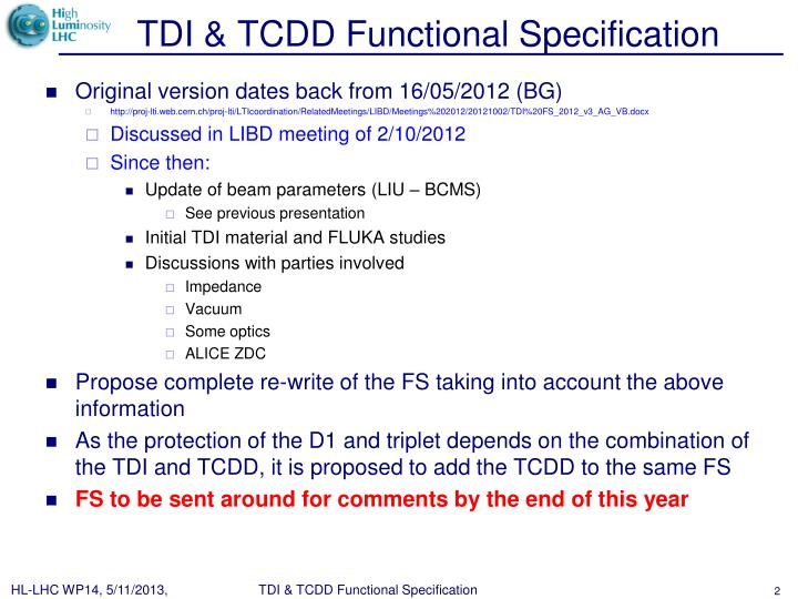 TDI & TCDD Functional Specification