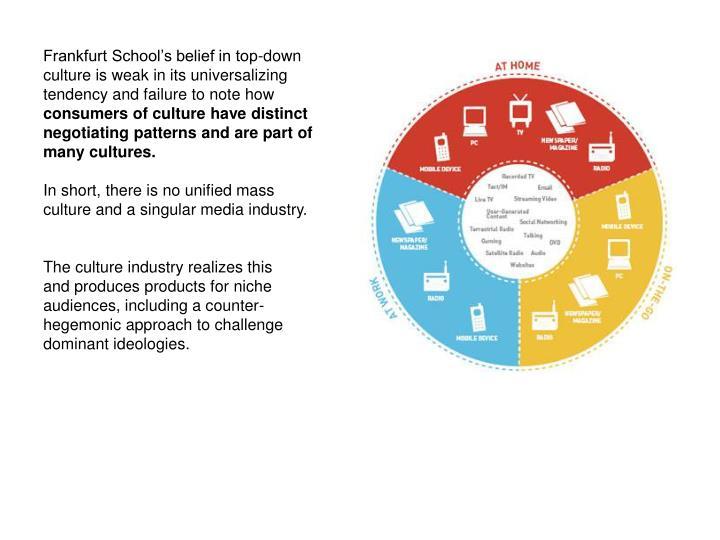 Frankfurt School's belief in top-down culture is weak in its universalizing tendency and failure to note how