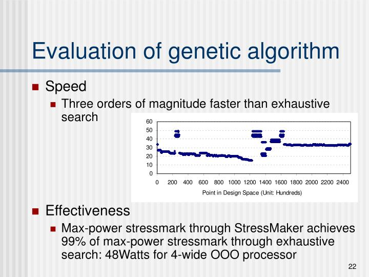 Evaluation of genetic algorithm