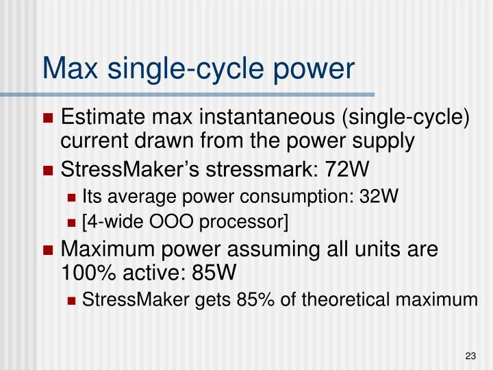 Max single-cycle power