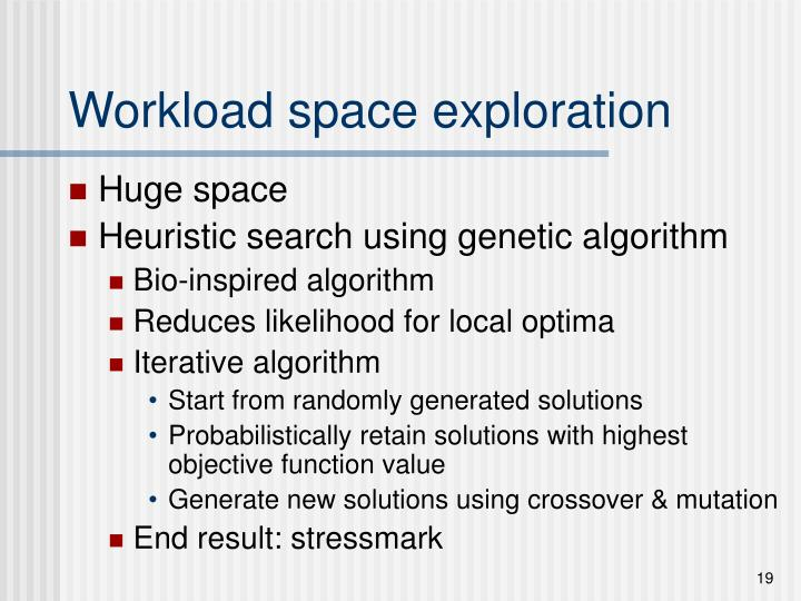 Workload space exploration