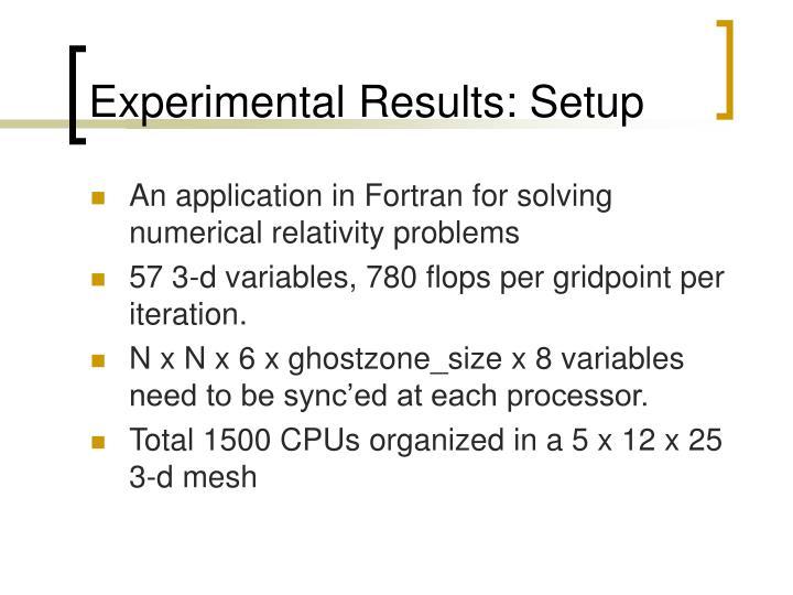 Experimental Results: Setup