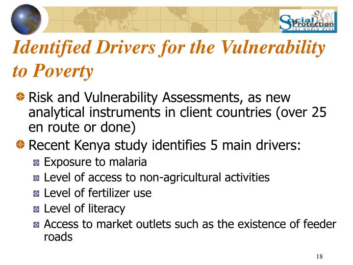 Identified Drivers for the Vulnerability to Poverty
