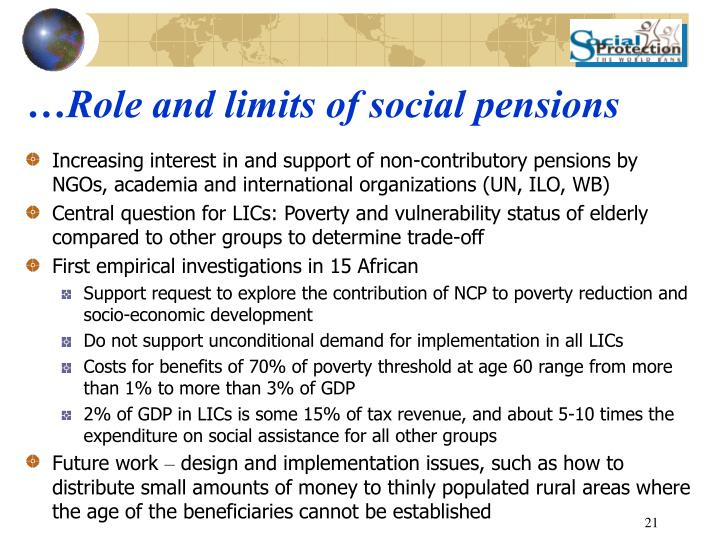 …Role and limits of social pensions