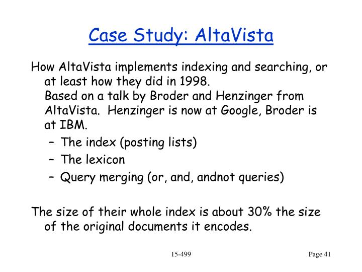 Case Study: AltaVista