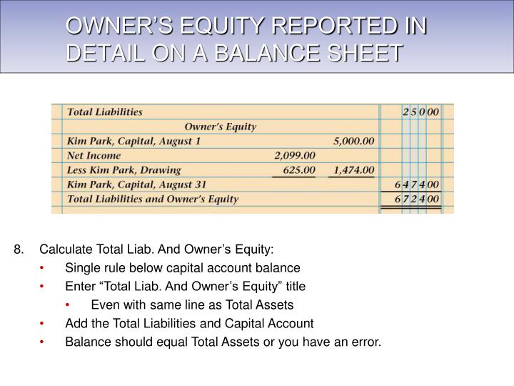 OWNER'S EQUITY REPORTED IN DETAIL ON A BALANCE SHEET