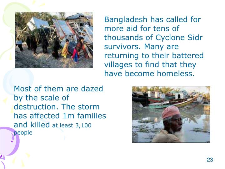Bangladesh has called for more aid for tens of thousands of Cyclone Sidr survivors. Many are returning to their battered villages to find that they have become homeless.