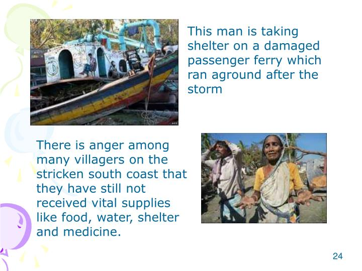 This man is taking shelter on a damaged passenger ferry which ran aground after the storm