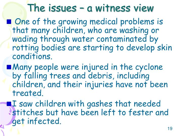 The issues – a witness view