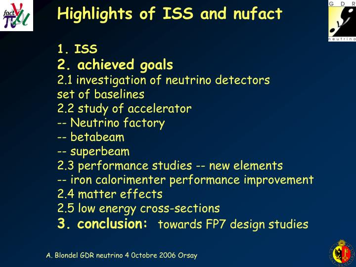 Highlights of ISS and nufact