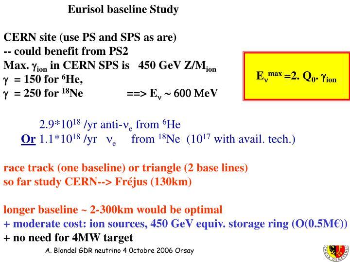 Eurisol baseline Study