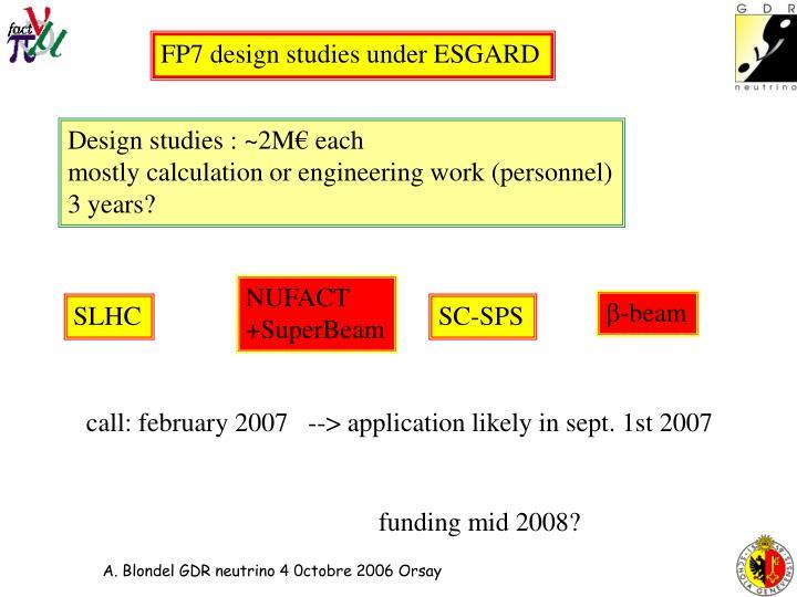 FP7 design studies under ESGARD