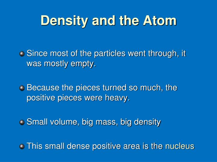 Density and the Atom