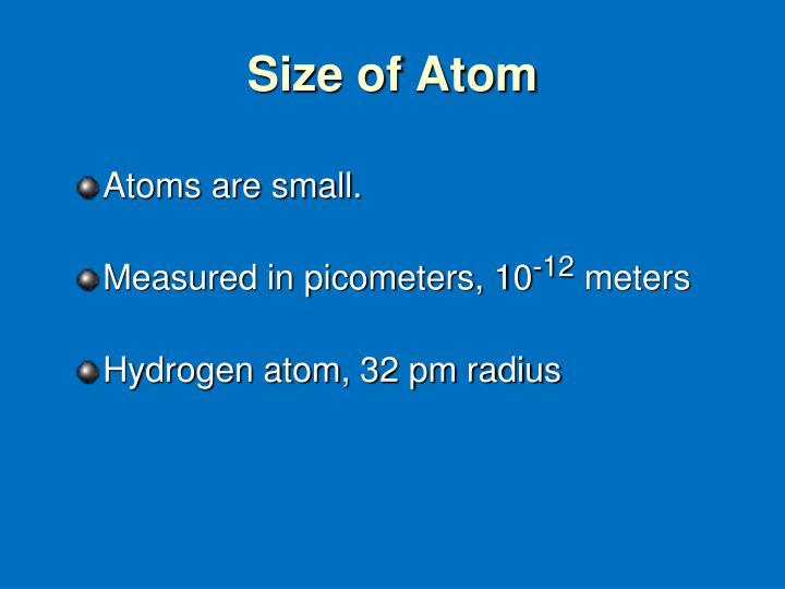 Size of Atom