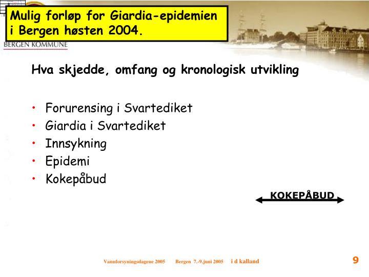Mulig forløp for Giardia-epidemien i Bergen høsten 2004.