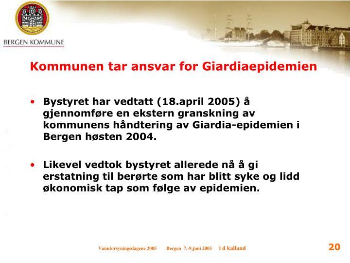 Kommunen tar ansvar for Giardiaepidemien