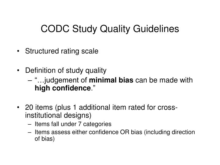 CODC Study Quality Guidelines