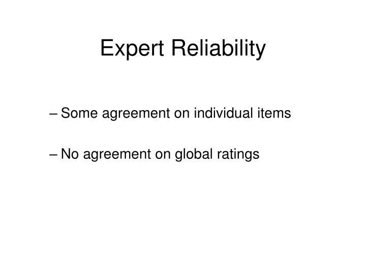 Expert Reliability
