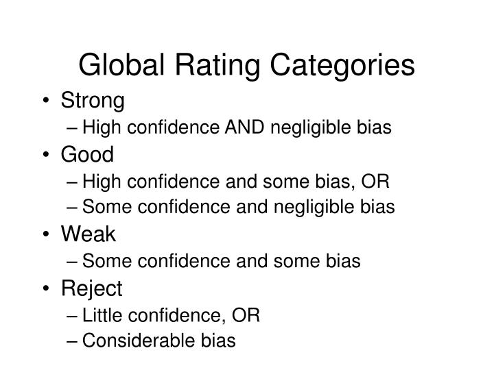 Global Rating Categories