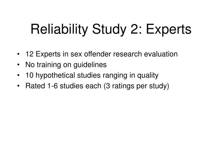 Reliability Study 2: Experts