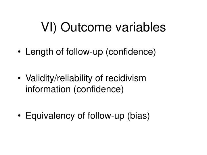 VI) Outcome variables