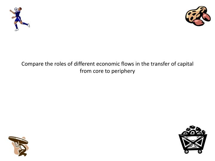 Compare the roles of different economic flows in the transfer of capital from core to periphery