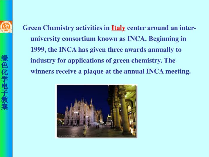 Green Chemistry activities in