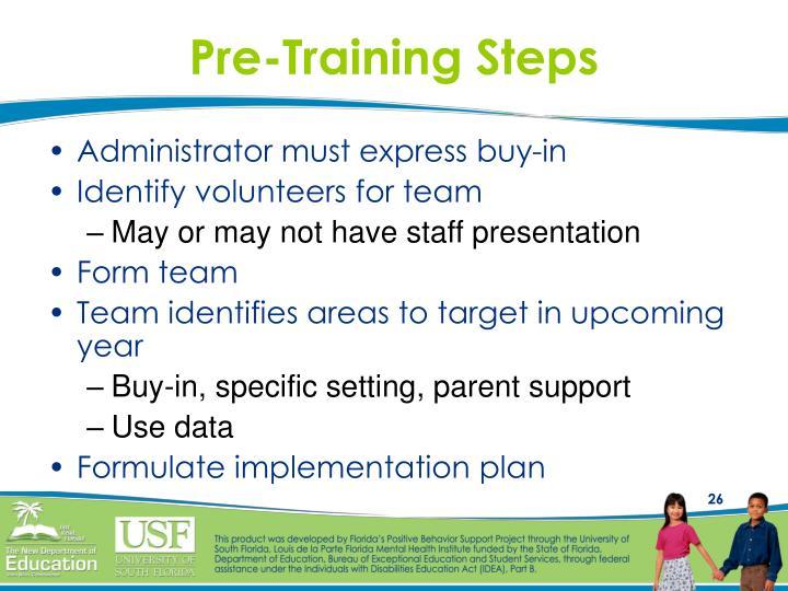 Pre-Training Steps