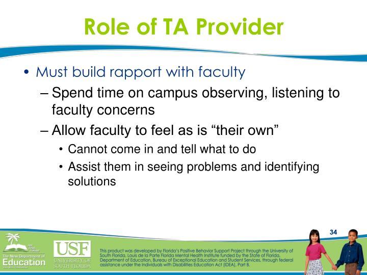 Role of TA Provider