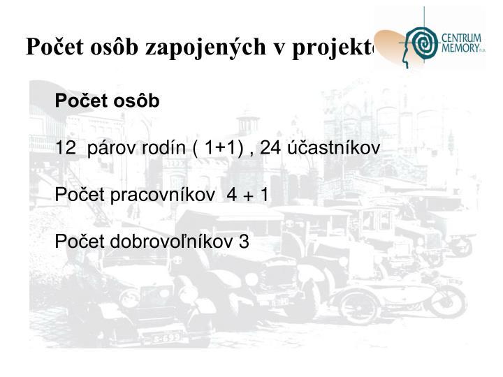 Počet osôb zapojených v projekte