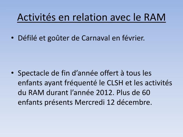 Activités en relation avec le RAM