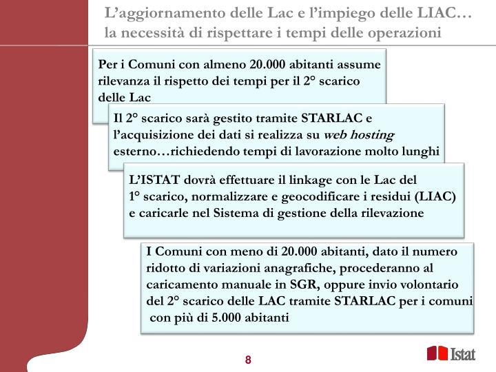 L'aggiornamento delle Lac e l'impiego delle LIAC…