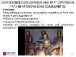 competence development and participation in transient knowledge communities1