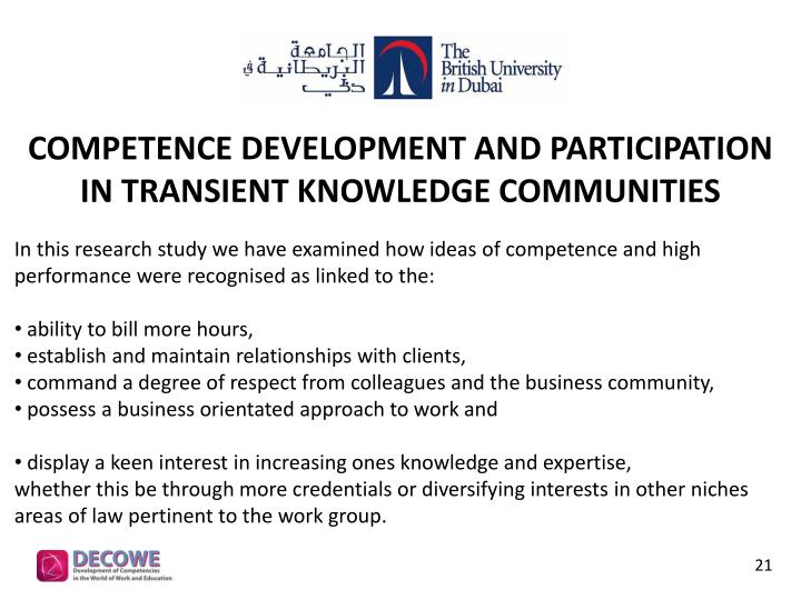 Competence Development and Participation in Transient Knowledge