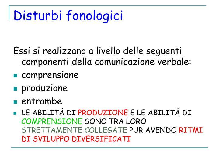 Disturbi fonologici
