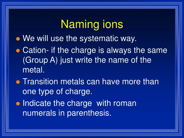 Naming ions
