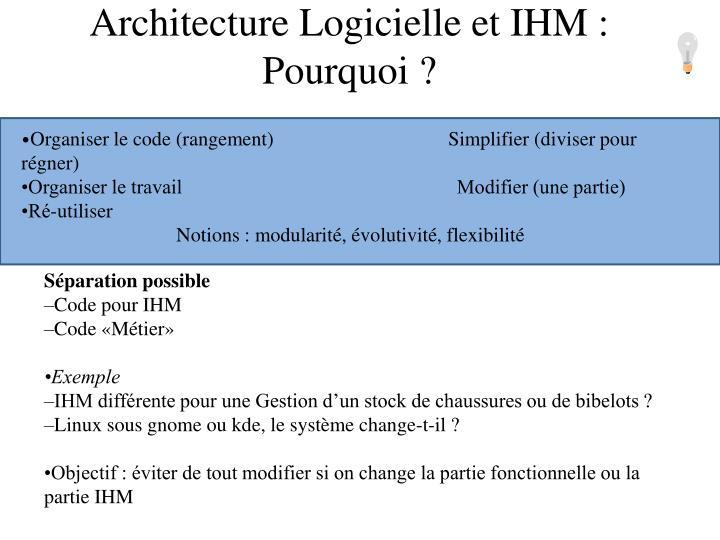 Architecture Logicielle et IHM : Pourquoi ?