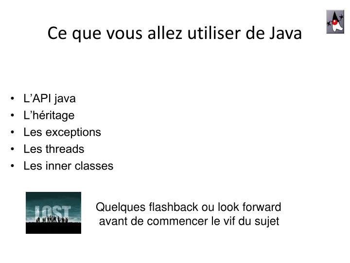 Ce que vous allez utiliser de Java