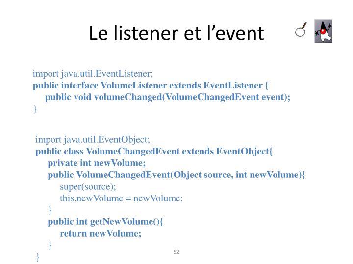 Le listener et l'event