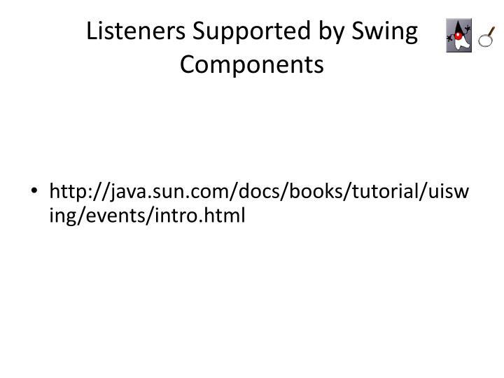 Listeners Supported by Swing Components