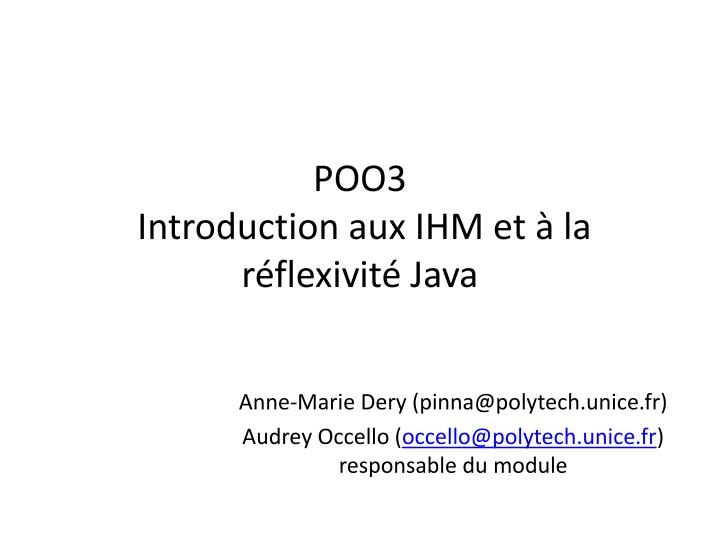 Poo3 introduction aux ihm et la r flexivit java