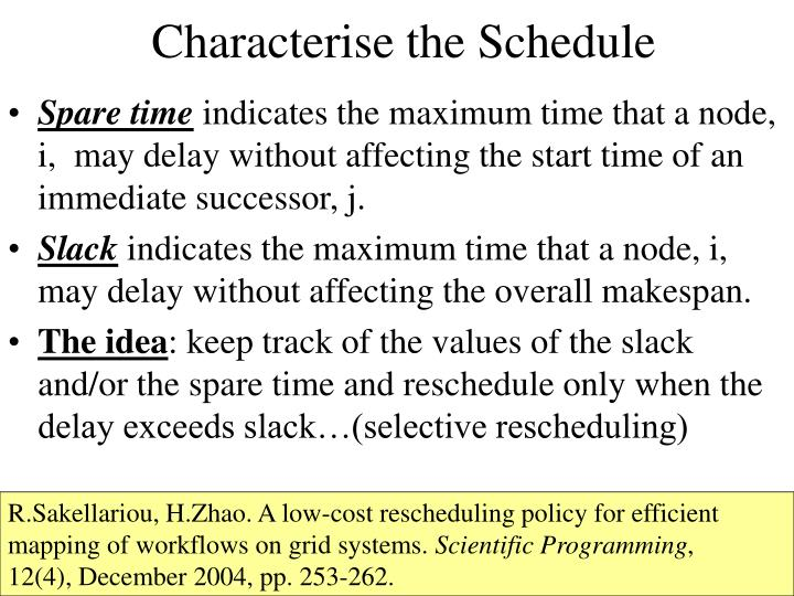 Characterise the Schedule