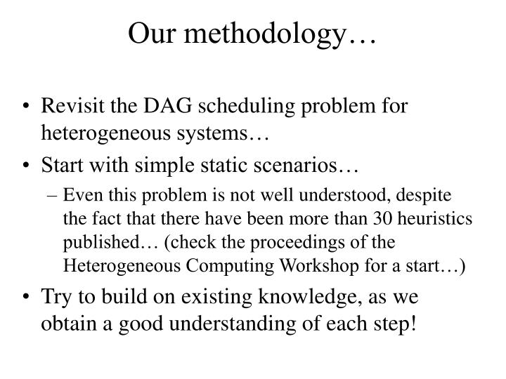 Our methodology…