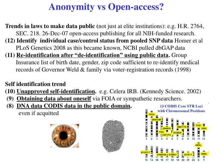 Anonymity vs Open-access?