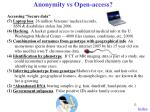 anonymity vs open access1