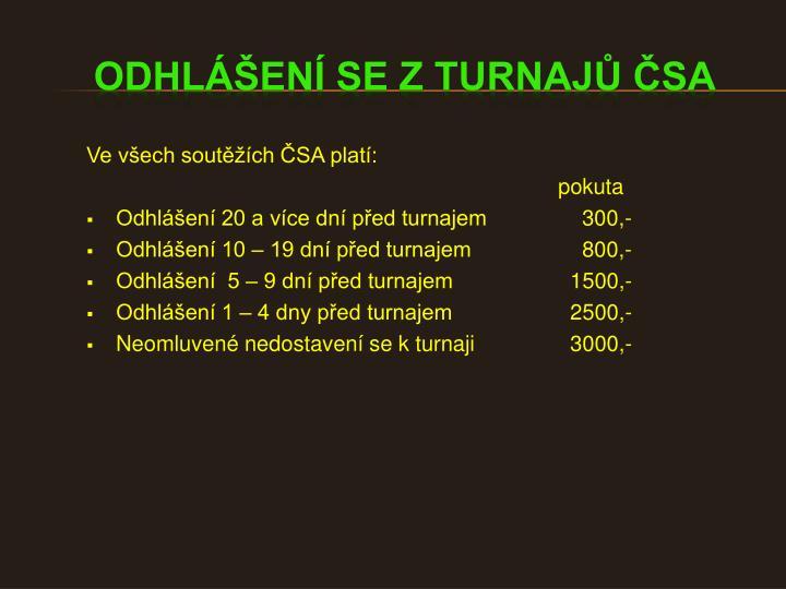 Ve všech soutěžích ČSA platí: