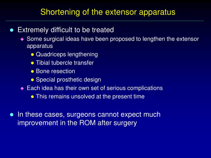 Shortening of the extensor apparatus