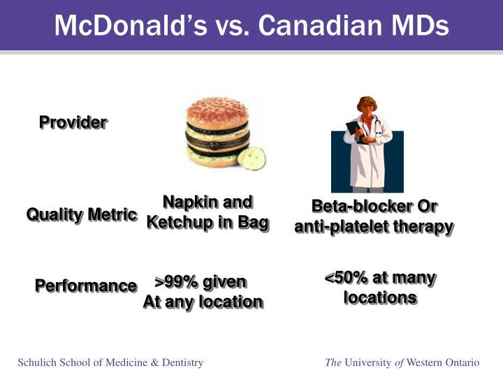 McDonald's vs. Canadian MDs